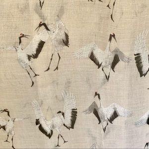 Dancing Cranes cotton Neck or Head Scarf